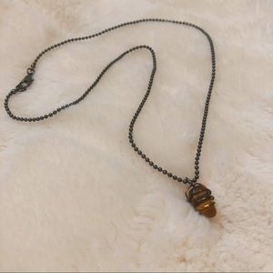 Upcycled Tiger's Eye Success Pendant Necklace